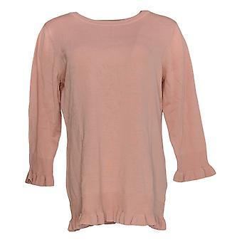 Isaac Mizrahi Live! Frauen's Pullover 3/4 Ärmel Rüschen Saum Tunika rosa A351083