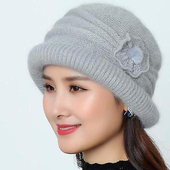 Winter Knitted Hats With Flower Pattern Ladies Fashion Warm Women Capot