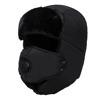 Paksu bomber, Unisex hengittävä irrotettava naamio hatut ja kylmä talvi lämmin