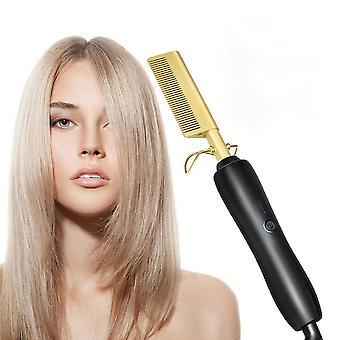 Hair Straightener And Curler Comb, Flat Irons Straightening Brush/hot Heating