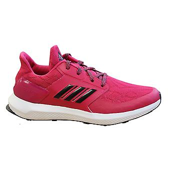 Adidas RapidaRun Kids Girls Trainers Pink Lace Up Running Shoes D97085
