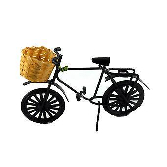 Poppen Huis Zwarte Fiets Fiets met Shopping Basket Garden Accessoire