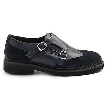 Sangiorgio zapato de cuero azul y ante de doble hebilla