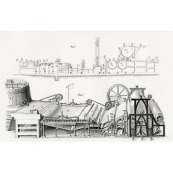 Making Papiermaschine 19. Jahrhunderts vom Cyclopaedia der nützlichen Künste und produziert von Charles Tomlinson PosterPrint