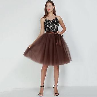 7 Warstwowe 65cm Długość do kolan Kobiety&s Wysoka talia Elastyczne plisowane spódnice