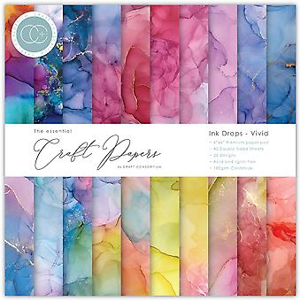 Craft Consortium Essential Craft Papers 6x6 Inch Paper Pad Inkt druppels levendig