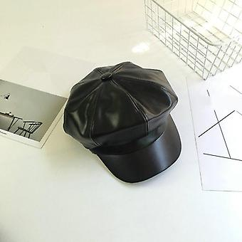 New Fashion Solid Color Pu Leather Octagonal Cap, Casual Vintage Newsboy Hat