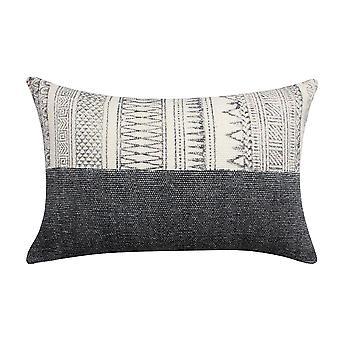 24 x 16 pulgadas bloque impreso tejido a mano algodón acentuado almohada, gris y blanco
