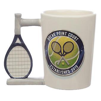 כיף מחבט טניס בצורת ידית ספל קרמיקה