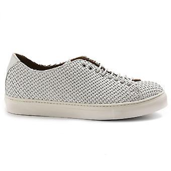 Zapato de encaje para hombre Sangiorgio blanco en cuero tejido