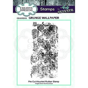 Creative Expressions Andy Skinner Grunge Wallpaper 2.3 in x 5 in Rubber Stamp