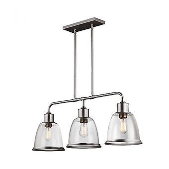 Lámpara Colgante Hobson Bar, Níquel Satinado, Vidrio Manchado, 3 Luces