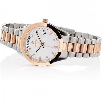 Woman Watch Hoops Luxury Steel 2620lsrg03 Silver Rose Gold White