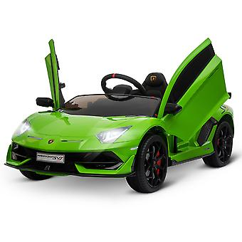 HOMCOM Compatible 12V Battery-powered Kids Electric Ride On Car Lamborghini Aventador Sports Racing Car Toy with Parental Remote Control Music Lights Suspension Wheels for 3-8 Years Old Green