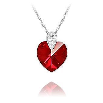 Silver siam ab swarovski crystal heart necklace