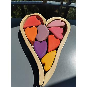 Wooden Basswood/beech Rainbow Heart Stacking Blocks Toy