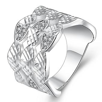 Silver Plating White Swarovski Multi-lined Ring