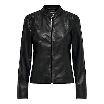 JDY Womens Stormy Leather Jacket PU Full Zip Outerwear Top