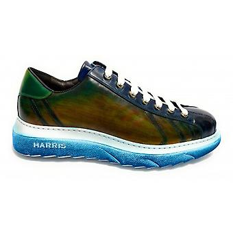 Men's Shoes Harris Sneakers Leather Yes Blue & Green Bubble Rubber U17ha143