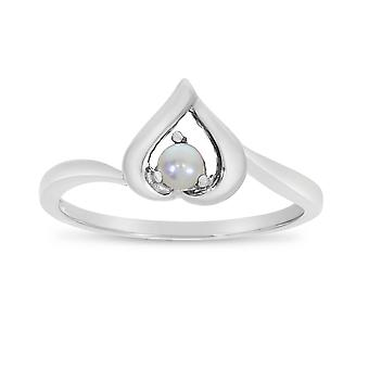 LXR 10k White Gold Freshwater Cultured Pearl Heart Ring
