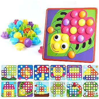 FengChun Mosaik Steckspiel fr Kinder ab 2 Jahre, Steckmosaik mit 45 Steckperlen und 12 Buntes