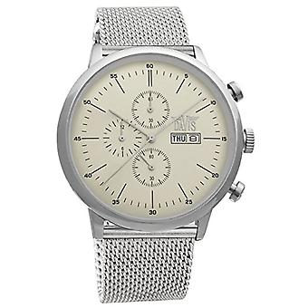 Davis-1950MB-Men's Watch Retr Classic-Chronograph Tin 50M-Day/Date-Strap Steel Jersey Milanese