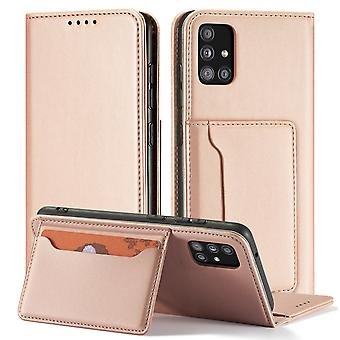 Flip folio leather case for samsung a41 rose gold pns-515