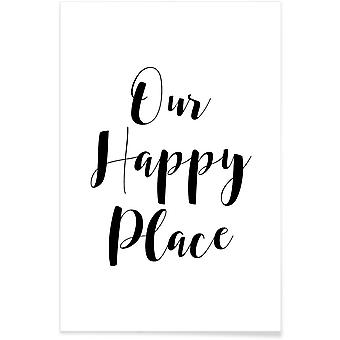 JUNIQE Print - Our Happy Place - Moving Poster in Black & White