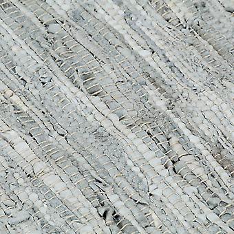 vidaXL Handgewebter Chindi-Teppich Leder 120x170 cm Hellgrau