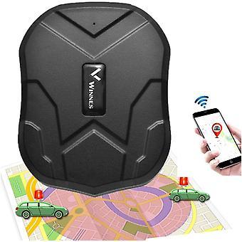 Winnes 2G GPSトラッカー強力磁気防水リアルタイムトラッキングGPSトラッカー車のSMSとAPP /ウェブサイト追跡なし月額料金(黒)