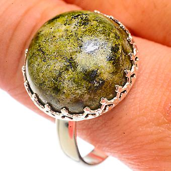 Rainforest Jasper Ring Size 13 (925 Sterling Silver)  - Handmade Boho Vintage Jewelry RING66281