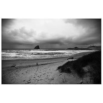 Lærred Print - Sand og skyer ved havet - Wall Art Decor