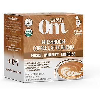 Organic Mushroom Nutrition Coffee Latte Mushroom Powder, 2.82 Oz (10 pouches)