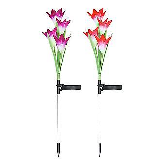 2kpl Simulaatio Lily NurmikkoLamppu 4 Led Lily Shape Ground Plug Light Koristeellinen Solar Night Lamp Garden Yard Patio