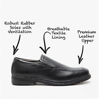 GEOX فيديريكو D الجلود الفتيان أحذية المدرسة الأسود