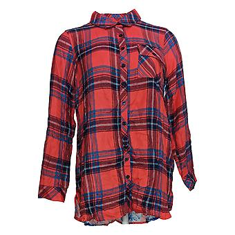 Tolani Collection Women's Petite Top Plaid Tunic With Print Back Red A383446