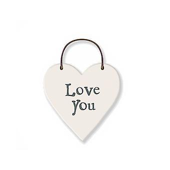 Love You - Mini Wooden Hanging Heart - Cracker Filler Gift