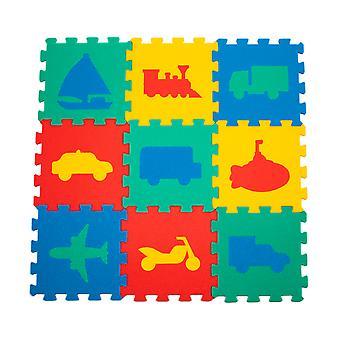 Matrax Eva Puzzle Play Mat, Automobile Toys, 33Cm X 33 Cm X 7 Mm, 9 Pieces, Bpa Free, Safe,  Educational Kids Toy