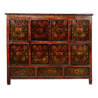 Asiático fino revivendo antigo gabinete tibetano portátil carroado W143xD47xH119cm