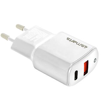 USB Quick Charge 3.0 and USB-C Power Delivery 20W 4Smarts wall charger - White