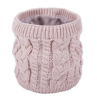Warm Scarf In Winter, All-match Knitted Scarf For Couples, Pure Color Plus Velvet Scarf(Pink)
