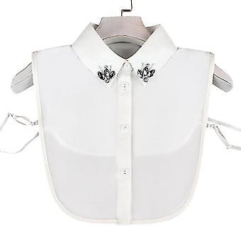 Rhinestone fake collar avtagbar blus Diamant Inlaid Halv skjortor