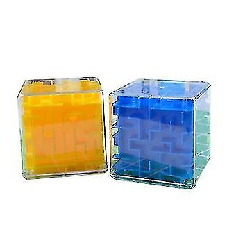 3D Maze Rolling Ball Magic Cube , Transparent Six Sided Puzzle Toy(Blue)