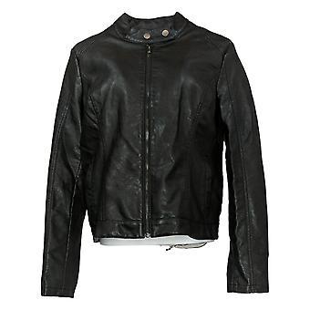 SkinnyGirl Women's Faux Leather Moto Jacket Black 672197