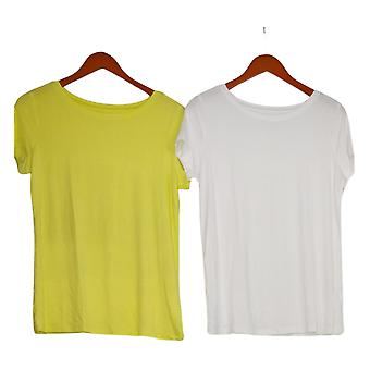 G By Giuliana Dames Top Set Van 2 EcoLuxe Jersey Soft Tees Yellow 729381
