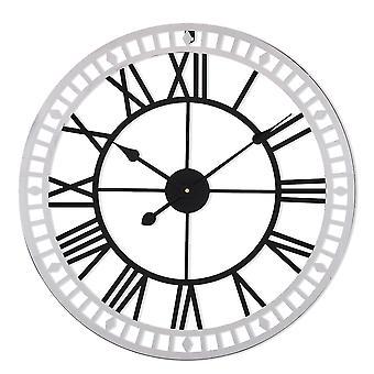 Horloge murale en métal de style industriel avec chiffres romains