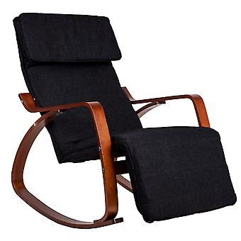 Rocking chair with adjustable footrest - Black