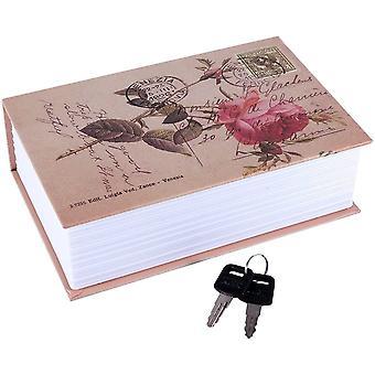Buch Safe Box, Tragbare versteckte Sicherheit Rose Buch Aufbewahrung Fall mit Schlüsselschloss Reise Nach Hause Schmuck Pass Geld Bargeld Secret Security Lock Box 18 x 11.