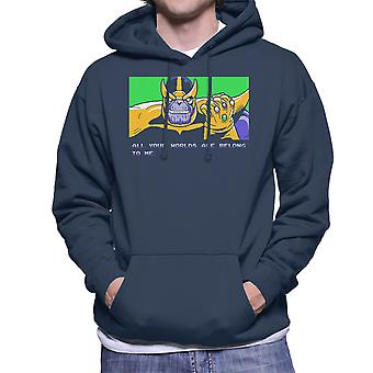 All Your Worlds Are Belong To Me Thanos Zero Wing Men's Hooded Sweatshirt