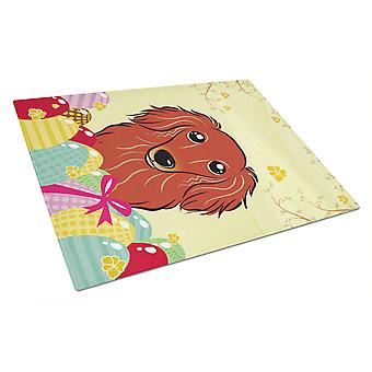 Longhair Red Dachshund Easter Egg Hunt Glass Cutting Board Large